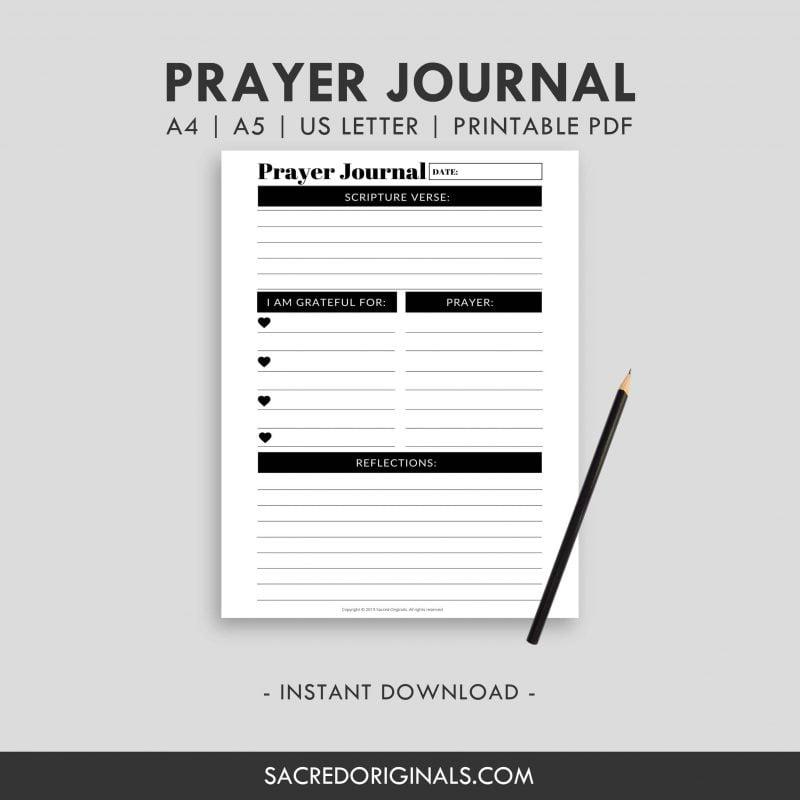 Prayer Journal Planner Insert