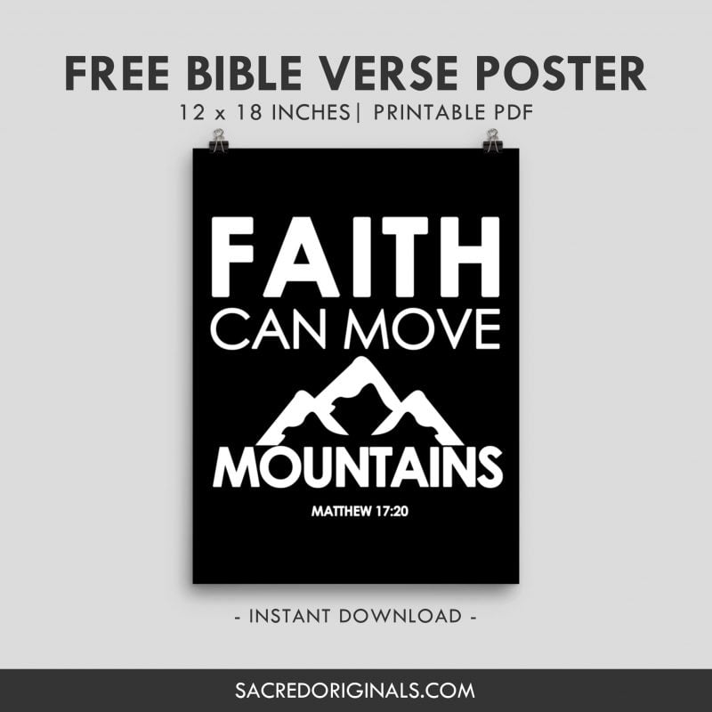 faith can move mountains free christian poster